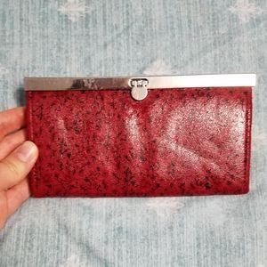 Handbags - Delightful red microsuede accordion wallet
